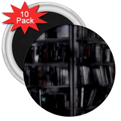 Black White Book Shelves 3  Button Magnet (10 Pack) by bloomingvinedesign