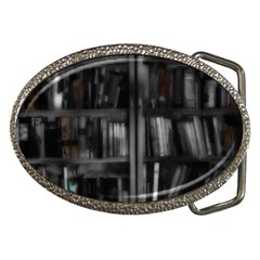 Black White Book Shelves Belt Buckle (oval)