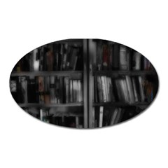 Black White Book Shelves Magnet (oval) by bloomingvinedesign