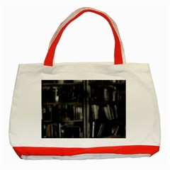 Black White Book Shelves Classic Tote Bag (red) by bloomingvinedesign