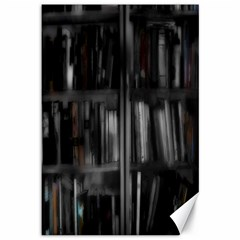 Black White Book Shelves Canvas 12  X 18  (unframed) by bloomingvinedesign