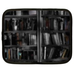 Black White Book Shelves Netbook Sleeve (xxl) by bloomingvinedesign