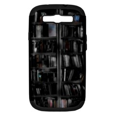 Black White Book Shelves Samsung Galaxy S Iii Hardshell Case (pc+silicone) by bloomingvinedesign