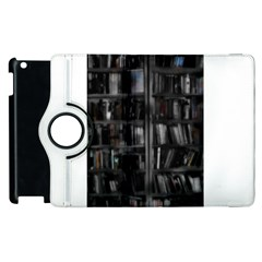 Black White Book Shelves Apple Ipad 2 Flip 360 Case by bloomingvinedesign