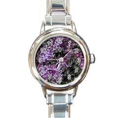 Lilacs Fade To Black And White Round Italian Charm Watch