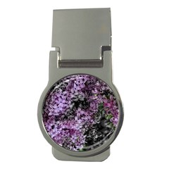 Lilacs Fade To Black And White Money Clip (round) by bloomingvinedesign