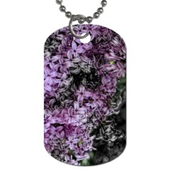 Lilacs Fade To Black And White Dog Tag (two Sided)  by bloomingvinedesign