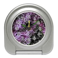 Lilacs Fade To Black And White Desk Alarm Clock by bloomingvinedesign