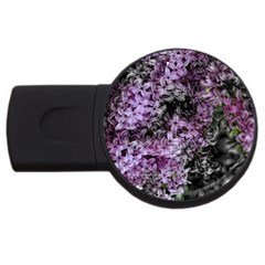 Lilacs Fade To Black And White 4gb Usb Flash Drive (round) by bloomingvinedesign