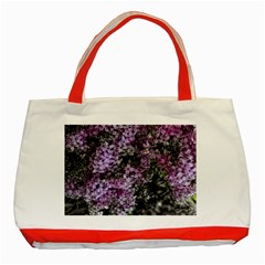 Lilacs Fade To Black And White Classic Tote Bag (red) by bloomingvinedesign