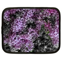 Lilacs Fade To Black And White Netbook Sleeve (large) by bloomingvinedesign