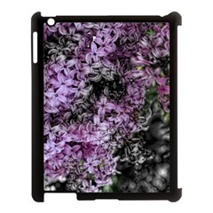 Lilacs Fade To Black And White Apple Ipad 3/4 Case (black) by bloomingvinedesign