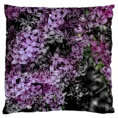 Lilacs Fade To Black And White Large Flano Cushion Case (one Side) by bloomingvinedesign