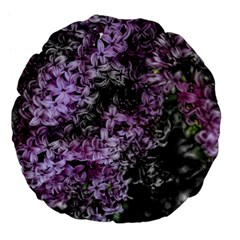 Lilacs Fade To Black And White 18  Premium Flano Round Cushion  by bloomingvinedesign
