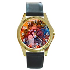 Astral Dreamtime Round Leather Watch (gold Rim)  by icarusismartdesigns