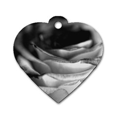 Light Black And White Rose Dog Tag Heart (two Sided) by bloomingvinedesign