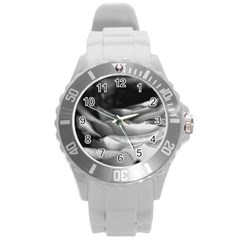 Light Black And White Rose Plastic Sport Watch (large) by bloomingvinedesign