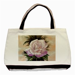 Pink Rose Twin Sided Black Tote Bag by ArtByThree
