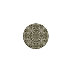 Silver Intricate Arabesque Pattern 1  Mini Button Magnet by dflcprints