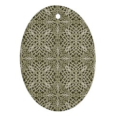 Silver Intricate Arabesque Pattern Oval Ornament by dflcprints