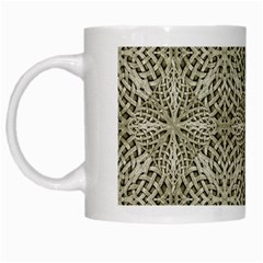 Silver Intricate Arabesque Pattern White Coffee Mug by dflcprints