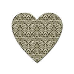 Silver Intricate Arabesque Pattern Magnet (heart) by dflcprints