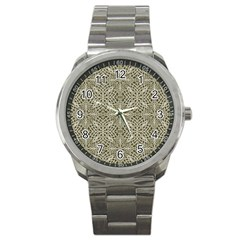 Silver Intricate Arabesque Pattern Sport Metal Watch by dflcprints