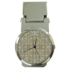 Silver Intricate Arabesque Pattern Money Clip With Watch by dflcprints