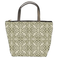 Silver Intricate Arabesque Pattern Bucket Handbag by dflcprints