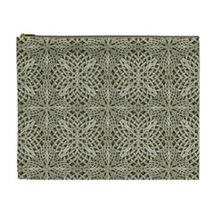 Silver Intricate Arabesque Pattern Cosmetic Bag (xl) by dflcprints