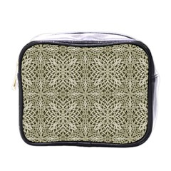 Silver Intricate Arabesque Pattern Mini Travel Toiletry Bag (one Side) by dflcprints