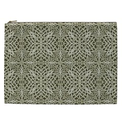 Silver Intricate Arabesque Pattern Cosmetic Bag (xxl) by dflcprints