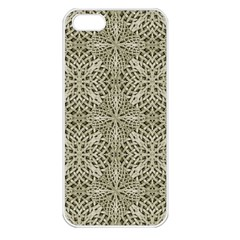 Silver Intricate Arabesque Pattern Apple Iphone 5 Seamless Case (white) by dflcprints