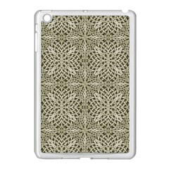 Silver Intricate Arabesque Pattern Apple Ipad Mini Case (white) by dflcprints
