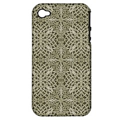 Silver Intricate Arabesque Pattern Apple Iphone 4/4s Hardshell Case (pc+silicone) by dflcprints