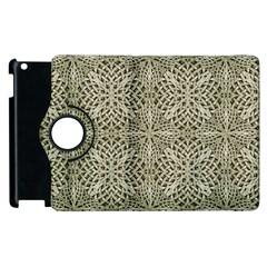 Silver Intricate Arabesque Pattern Apple Ipad 3/4 Flip 360 Case by dflcprints