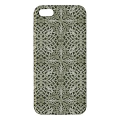 Silver Intricate Arabesque Pattern Apple Iphone 5 Premium Hardshell Case by dflcprints