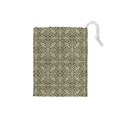 Silver Intricate Arabesque Pattern Drawstring Pouch (small)