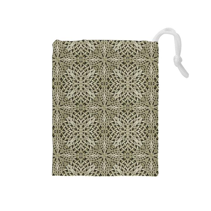 Silver Intricate Arabesque Pattern Drawstring Pouch (Medium)