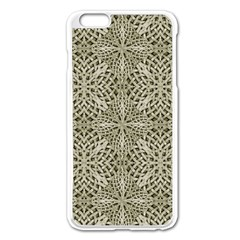 Silver Intricate Arabesque Pattern Apple iPhone 6 Plus Enamel White Case by dflcprints