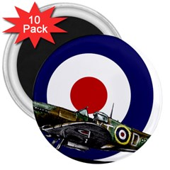 Spitfire And Roundel 3  Button Magnet (10 pack) by TheManCave