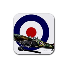 Spitfire And Roundel Drink Coaster (Square) by TheManCave