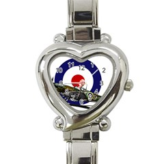 Spitfire And Roundel Heart Italian Charm Watch  by TheManCave