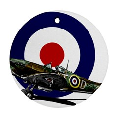 Spitfire And Roundel Round Ornament (Two Sides) by TheManCave