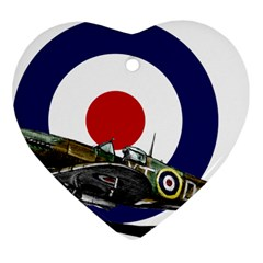 Spitfire And Roundel Heart Ornament (Two Sides) by TheManCave