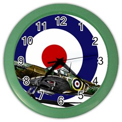 Spitfire And Roundel Wall Clock (color) by TheManCave