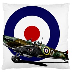 Spitfire And Roundel Large Cushion Case (single Sided)  by TheManCave