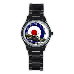 Spitfire And Roundel Sport Metal Watch (Black) by TheManCave
