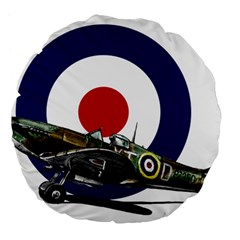 Spitfire And Roundel 18  Premium Flano Round Cushion  by TheManCave