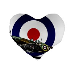 Spitfire And Roundel 16  Premium Flano Heart Shape Cushion  by TheManCave